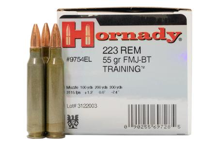 HORNADY 223 Remington 55 gr FMJ Boat Tail Police-Trade Ammo 50/Box