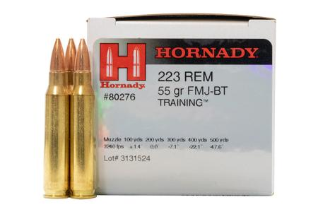 Hornady 223 Rem 55 gr FMJ Boat Tail Police Trade Ammo 50/Box