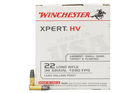 Winchester 22 LR 36 Grain Lead Hollow Point XPERT HV 500 Round Brick