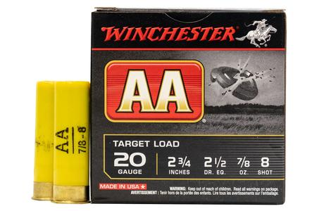 WINCHESTER AMMO 20 Gauge 2 3/4 in 7/8 oz 8 Shot - AA Target Load 25/Box