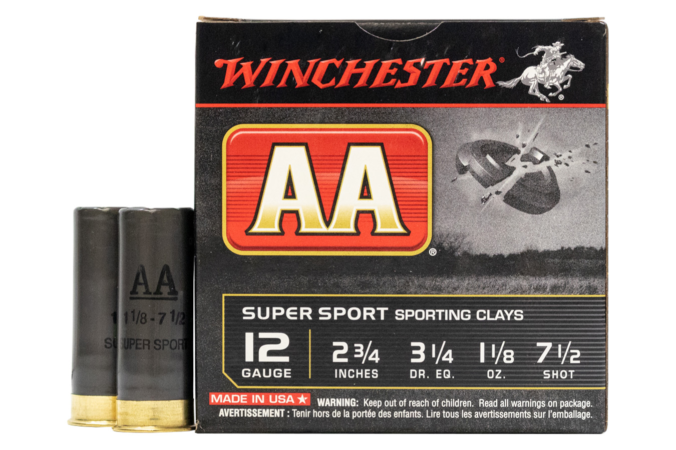 WINCHESTER AMMO 12 GAUGE 2-3/4 1300 3.25 1-1/8 SPORTING CLAYS