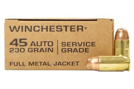 Winchester 45 ACP 230 gr FMJ Service Grade Ammo 50/Box