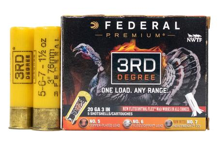 FEDERAL AMMUNITION 20 Gauge 3 Inch 1 7/16 oz - 5,6,7 Shot 3rd Degree 5/Box