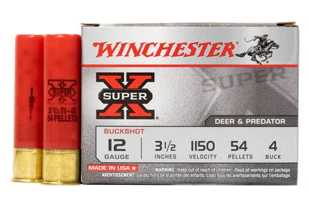 WINCHESTER AMMO 12 Gauge 3 1/2 in 54 Pellet - 4 Buck Super X 5/Box