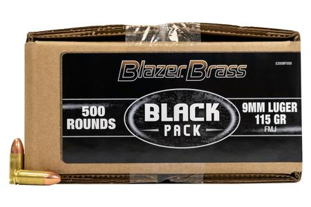 CCI 9mm 115 gr FMJ Blazer Black Pack 500/Box
