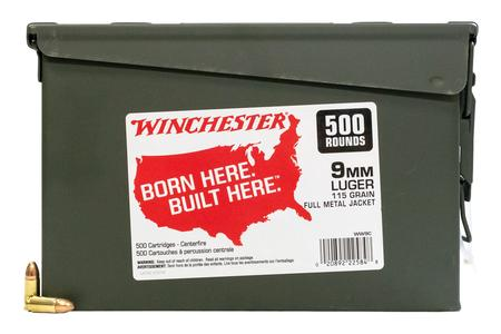 Winchester 9mm Luger 115 gr FMJ USA Ammo 500/Can