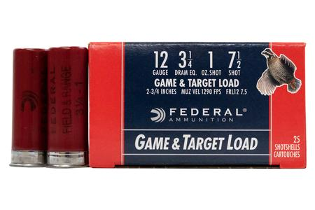 Federal 12 GA 3 1/4 DE 1 oz 7.5 shot Field and Range 25/Box