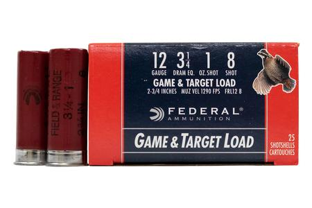 Federal 12 GA  3 1/4 DE 1 oz 8 Shot Field and Range 25/Box