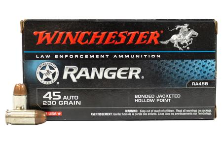 WINCHESTER AMMO 45 Auto 230 gr JHP Ranger Bonded Police Trade Ammo 50/Box