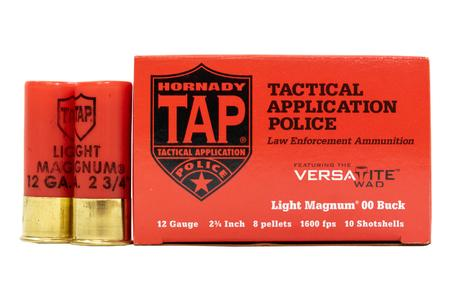 Hornady 12 Gauge 2 3/4 in Light Magnum 00-Buck TAP Police-Trade Ammo 10/Box
