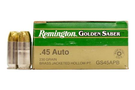 Remington 45 Auto 230 gr Brass JHP Golden Saber Police Trade Ammo