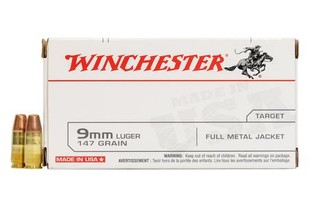 WINCHESTER AMMO 9mm Luger 147 gr FMJ Flat Nose 50/Box