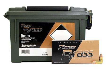 CCI AMMUNITION 9mm Luger 115 gr FMJ Blazer Brass 350 Round Ammo Can