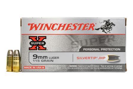 Winchester 9mm Luger 115 gr Silvertip JHP Super X 50/Box