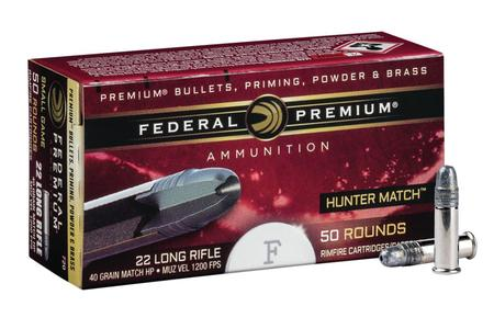 FEDERAL AMMUNITION 22LR 40 gr Lead HP Hunter Match 50/Box