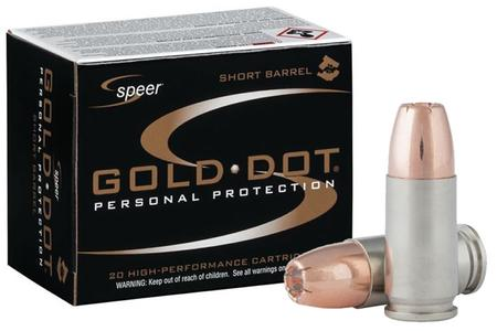Speer 9mm Luger +P 124 GR Gold Dot Personal Protection Hollow Point Short Barrel 20/bo