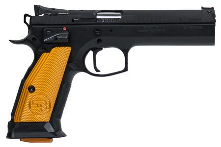 CZ 75 TACTICAL SPORT 40SW PISTOL WITH ORANGE ALUMINUM GRIPS