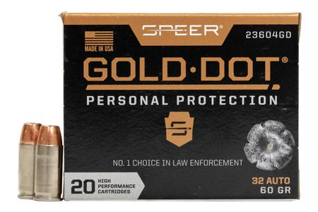 SPEER AMMUNITION 32 Auto 60 GR Gold Dot Personal Protection Hollow Point 20/Box
