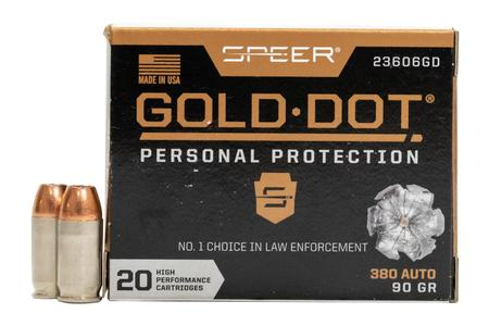 Speer 380 Auto 90 GR Gold Dot Personal Protection Hollow Point 20/Box
