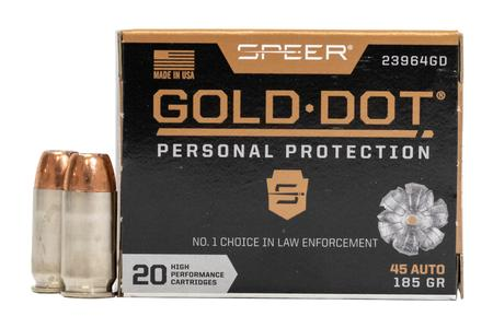 SPEER AMMUNITION 45 Auto 185 Gr Gold Dot Personal Protection HP 20/Box