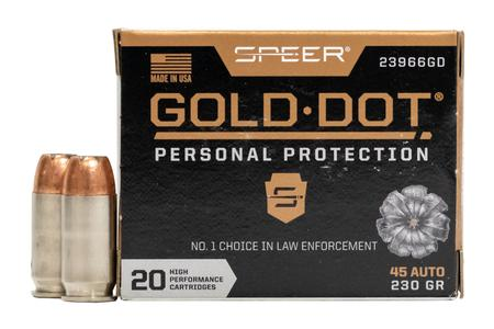 Speer 45 Auto 230 GR Gold Dot Personal Protection Hollow Point 20/Box