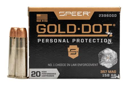 SPEER AMMUNITION 357 Mag 158 GR Gold Dot Personal Protection Hollow Point 20/Box