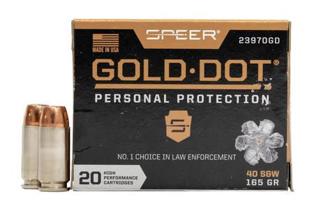 Speer 40SW 165 GR Gold Dot Personal Protection Hollow Point 20/Box