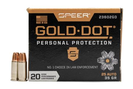 SPEER AMMUNITION 25 Auto 35 gr Gold Dot Handgun Personal Protection Hollow Point 20/Box