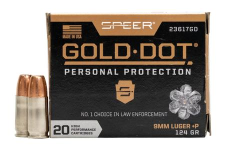 Speer 9mm +P 124 GR Gold Dot Personal Protection Hollow Point 20/box