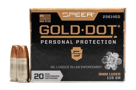 Speer 9mm Luger 115 GR Gold Dot Personal Protection Hollow Point 20/Box