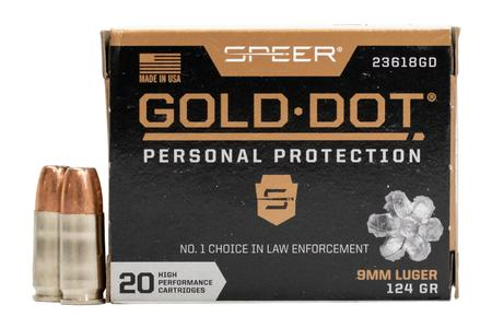 Speer 9mm Luger 124 gr Gold Dot Personal Protection Hollow Point 20/Box