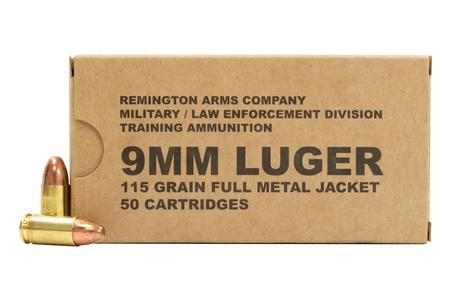 REMINGTON 9mm Luger 115 gr FMJ MIL/LE Training Ammo 50/Box