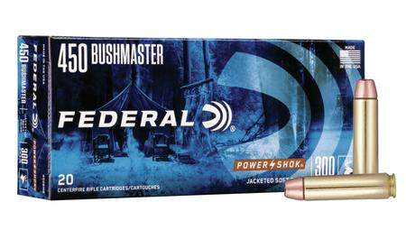 FEDERAL AMMUNITION 450 Bushmaster 300 gr Jacketed Soft Point Power-Shok 20/Box