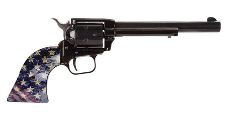 HERITAGE ROUGH RIDER 22LR RIMFIRE REVOLVER WITH AMERICAN FLAG GRIPS AND 6.5-INCH BARREL