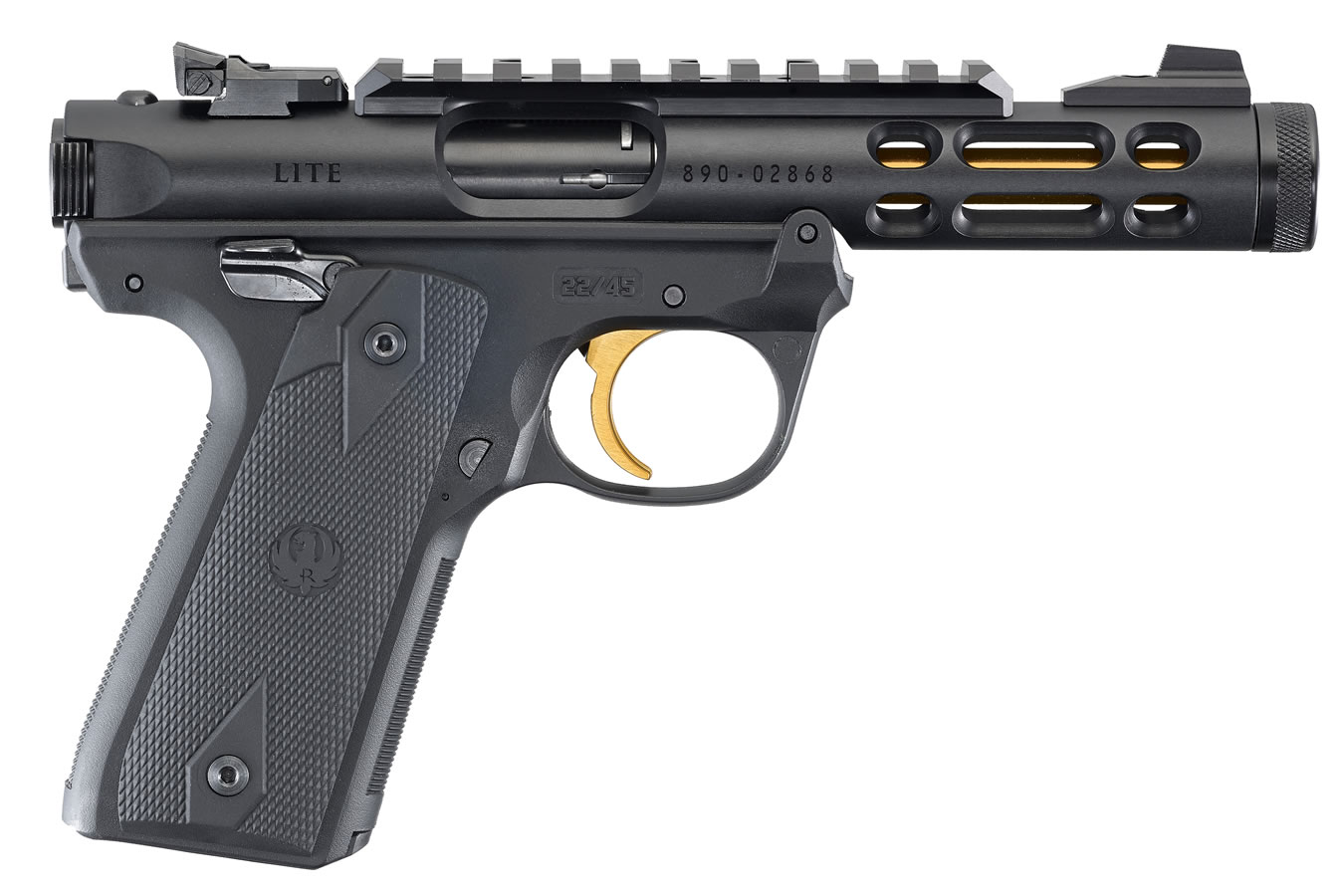 No. 9 Best Selling: RUGER MARK IV 22/45 LITE 22LR BLACK/GOLD ANODIZED