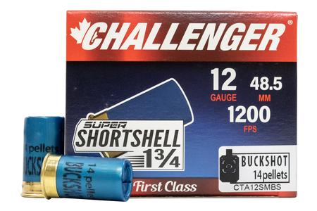 Challenger Ammo 12 Gauge Super Shortshell 1 3/4 in 14 Pellet Buckshot 20/Box