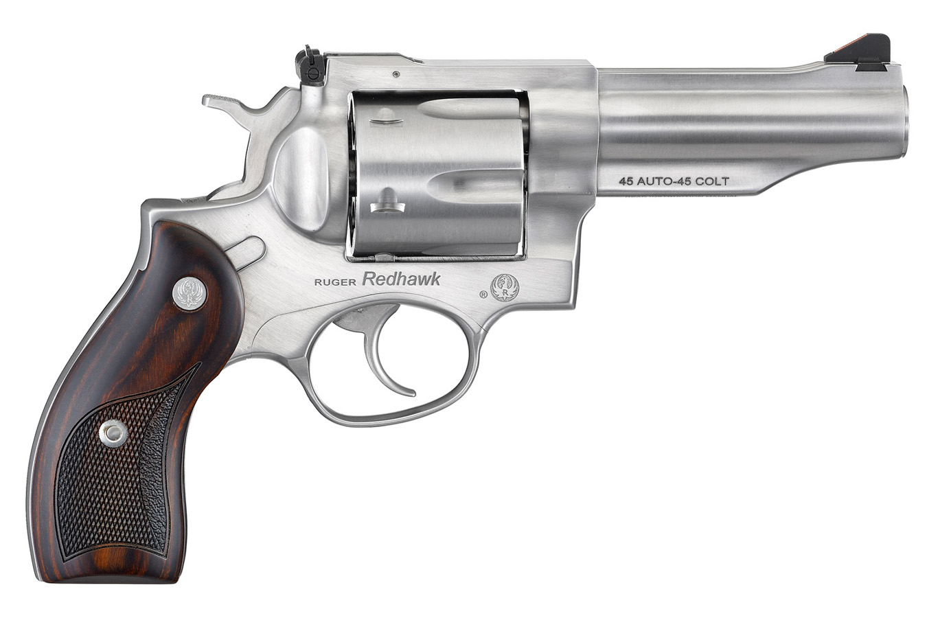 Redhawk 45 ACP Satin Stainless Revolver with Hardwood Grips