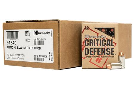 Hornady 40SW 165 gr Critical Defense 200/Case