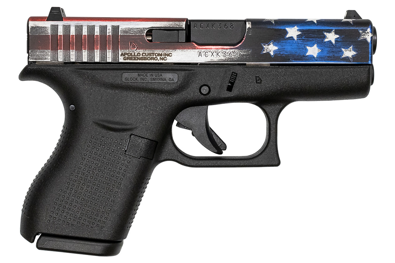 Glock 42 380 Auto Single Stack Pistol With American Flag