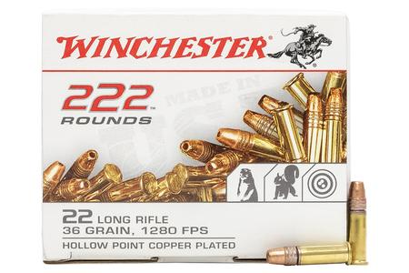 Winchester 22 LR 36 gr Copper Plated Hollow Point 222/Box