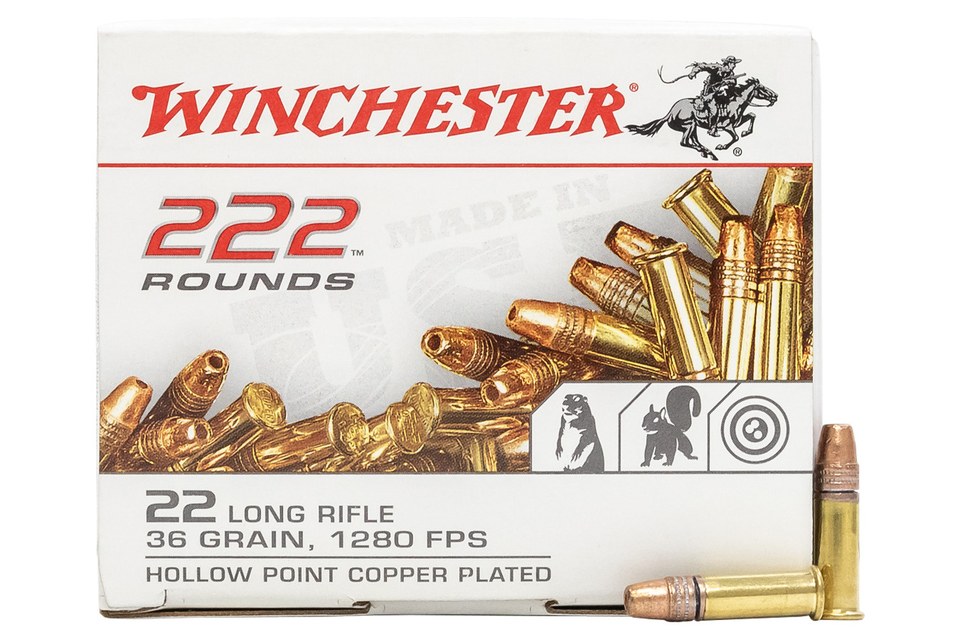 WINCHESTER AMMO 22 LR 36 GR COPPER PLATED HP 222 RDS