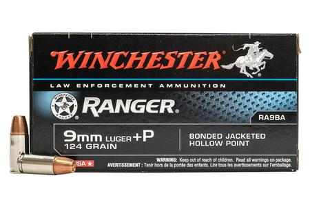 Winchester 9mm Luger +P 124 gr Bonded JHP Ranger Police Trade Ammo 50/Box