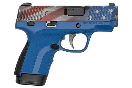 HONOR DEFENSE Honor Guard 9mm Sub-Compact Pistol with Blue Frame and USA Cerakote Slide