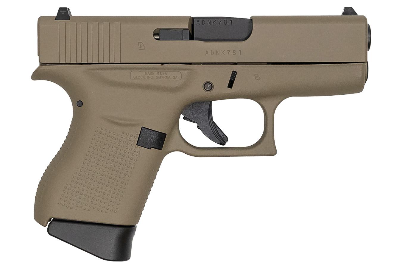 Glock 43 9mm Flat Dark Earth Cerakote Single Stack Pistol Made In Usa Sportsman S Outdoor Superstore