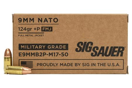 Sig Sauer 9mm NATO 124 gr +P FMJ M17 Military Grade 50/Box