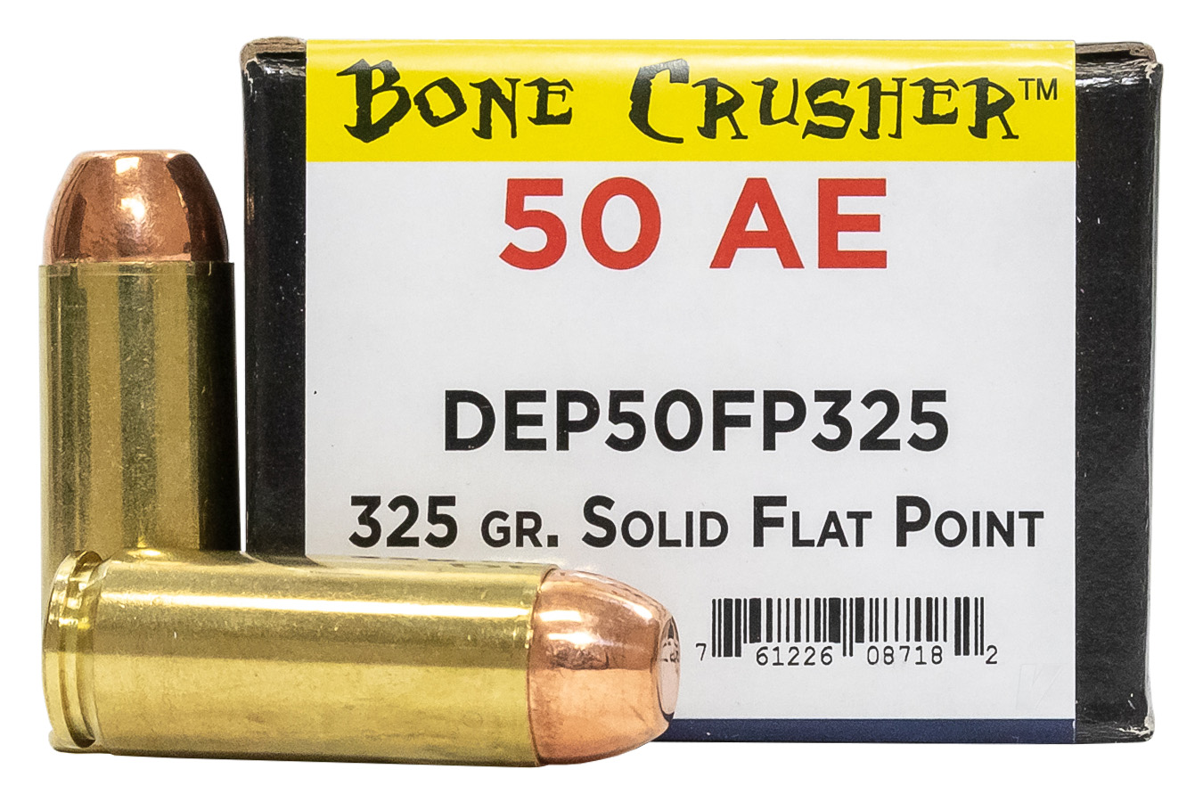 .50 AE 325 GR SOLID FLAT POINT BONE CRUSHER 25/BOX