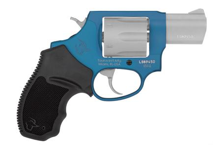 "Taurus 856 UL Ultralite .38 Special +P Double Action Revolver 2"" Barrel 6 Rounds Fixed Sights Rubber Grips Matte SS Cylinder/Azure Frame Finish"