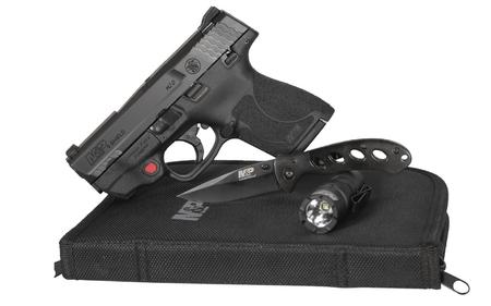 SMITH AND WESSON MP9 Shield M2.0 9mm Everyday Carry Kit w/ Crimson Trace Laser, Flashlight, Knife