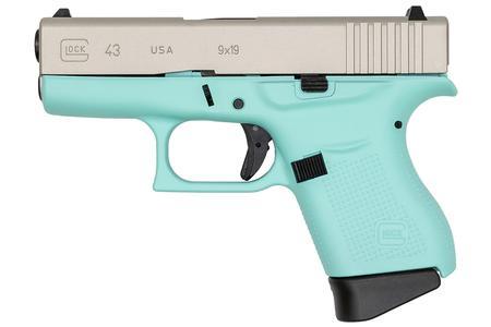 Glock 43 9mm Robins Egg Blue Cerakote Single Stack Pistol (Made In USA)