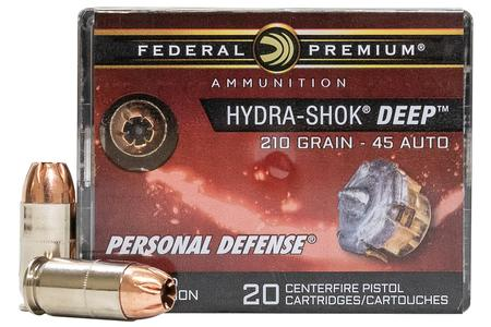 Federal 45 ACP 210 gr JHP Hydra-Shok Deep 20/Box